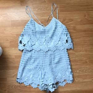 Saylor blue crochet romper